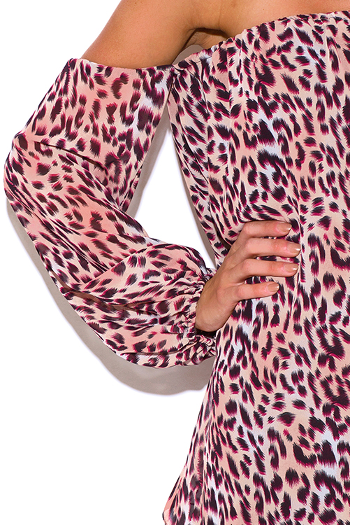 Cute cheap plus size peach pink animal print chiffon off shoulder long sleeve boho party mini sun dress
