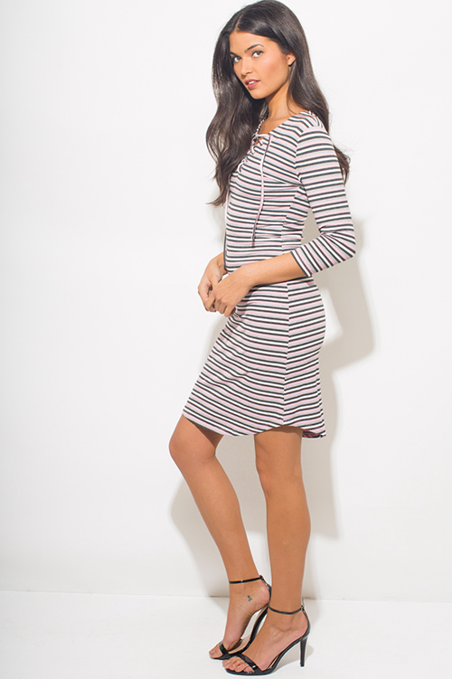 Cute cheap pink multicolor striped ribbed knit quarter sleeve laceup bodycon fitted midi dress