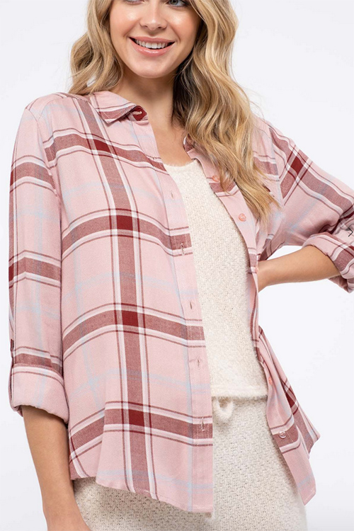 Cute cheap plaid button down shirt