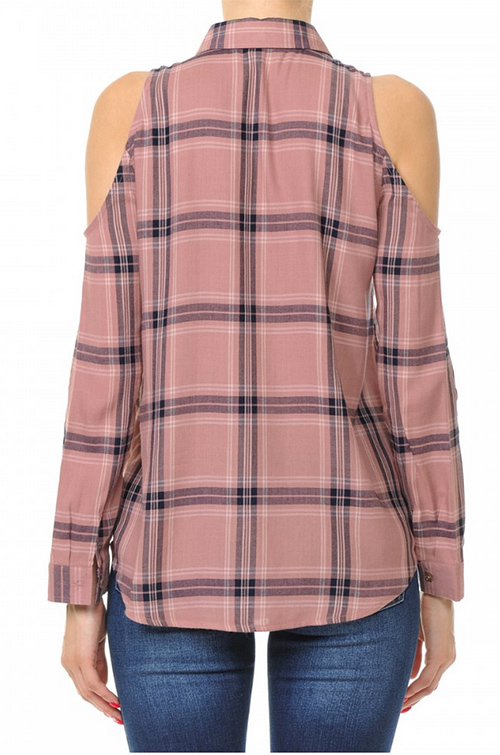 Cute cheap plaid woven rayon cold shoulder shirt