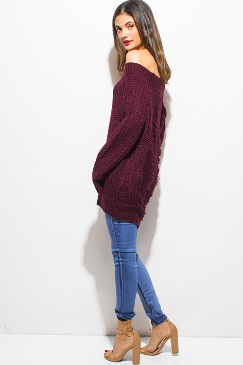 Cute cheap plum burgundy red crochet waffle knit off shoulder long sleeve destroyed shredded boho tunic sweater top