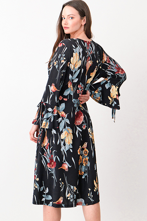 Cute cheap Plus size black floral print long bell sleeve surplice boho wrap midi dress
