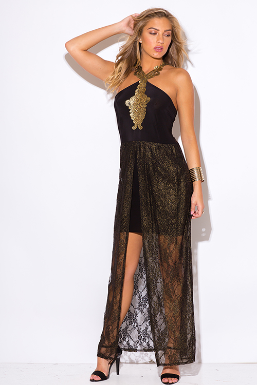 Cute cheap plus size black gold metallic lace high low formal cocktail party evening maxi dress