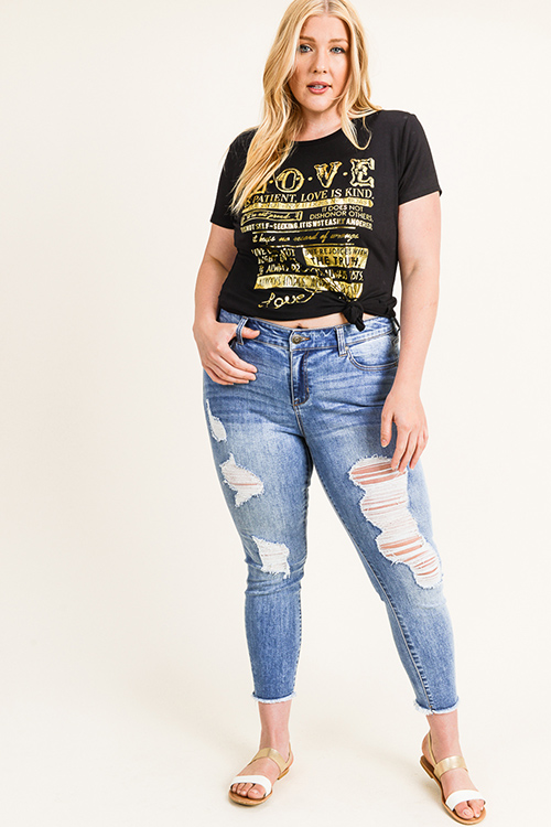 Cute cheap Plus size black gold foil graphic print short sleeve boho tee shirt top