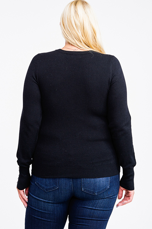 Cute cheap Plus size black long sleeve pearl studded cuffs boho sweater knit top