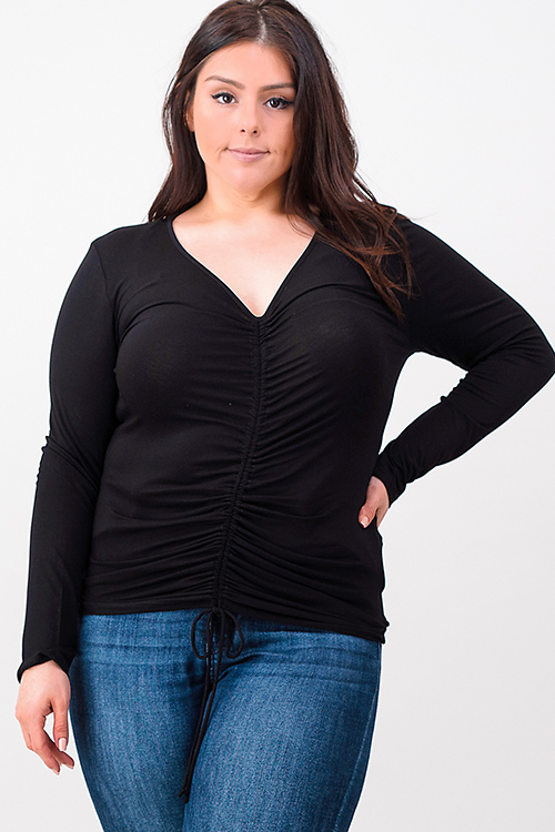 Cute cheap plus size black long sleeve v neck ruched front boho top