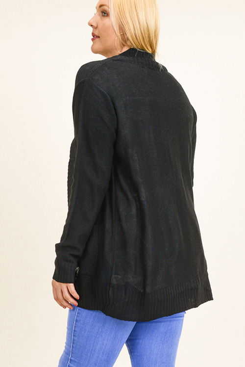 Cute cheap Plus size black ribbed sweater knit long sleeve open front pocketed boho cardigan