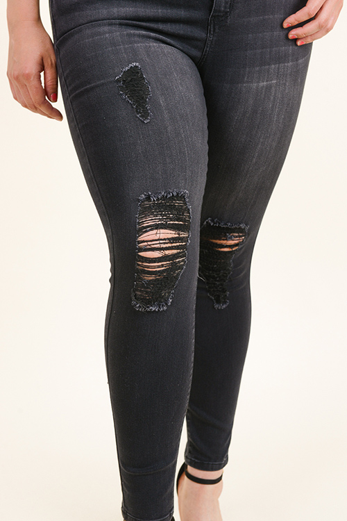 Cute cheap Plus size black washed denim mid rise distressed frayed fitted skinny jeans