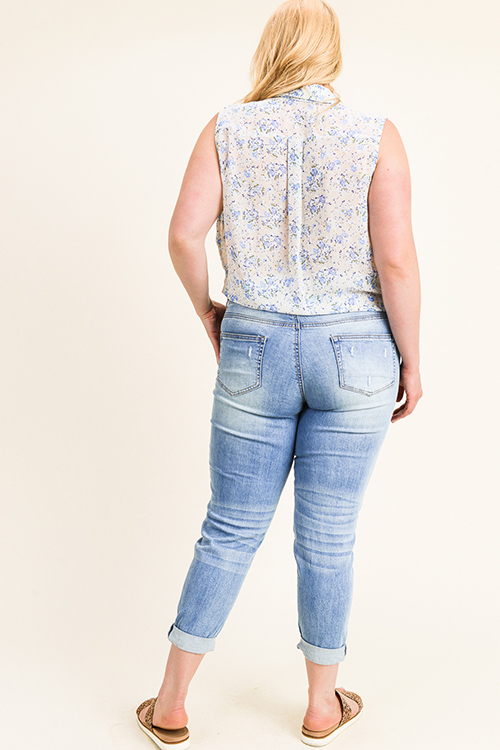 Cute cheap Plus size blue washed denim mid rise distressed rolled hem boho skinny jeans