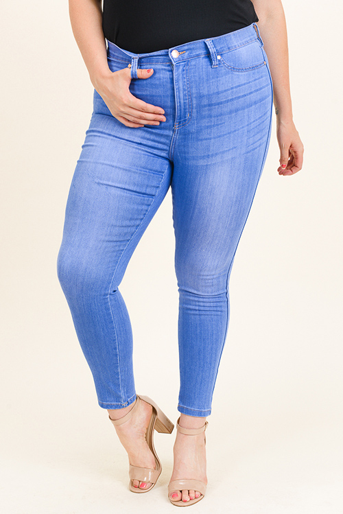 Cute cheap Plus size blue washed denim ultra high rise curvy sculpting fitted skinny jeans