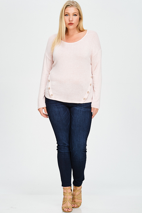 Cute cheap plus size blush pink button side detail faux suede elbow patch boho sweater knit top