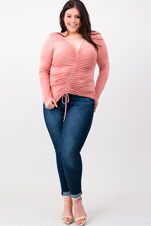 Cute cheap plus size blush pink long sleeve v neck ruched front boho top