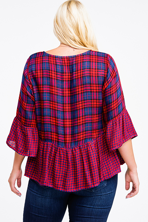 Cute cheap Plus size burgundy red plaid tassel tie quarter sleeve boho peplum blouse top