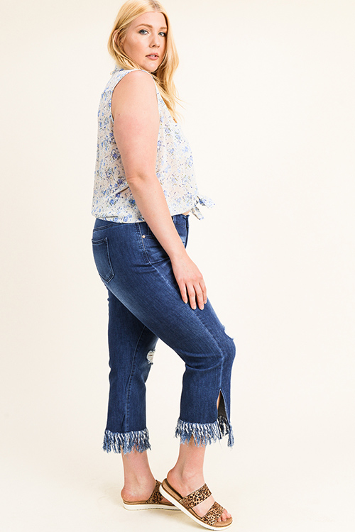 Cute cheap Plus size dark blue denim distressed boho fringe hem slit boot cut cropped jeans