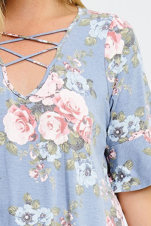 Cute cheap plus size dusty blue floral print caged cut out ruffle bell sleeve boho tee shirt top