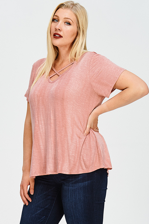 Cute cheap plus size dusty pink acid washed caged cut out short sleeve boho tee shirt top