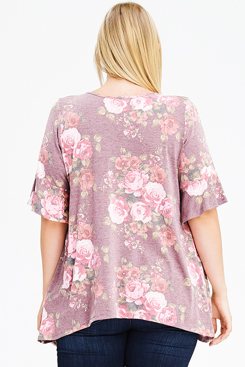 Cute cheap plus size dusty pink floral print caged cut out ruffle bell sleeve boho tee shirt top