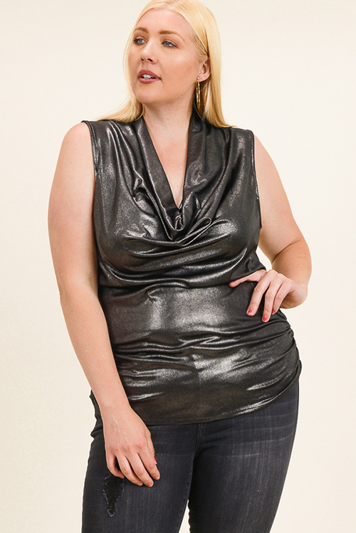 Cute cheap Plus size gunpowder black metallic sleeveless draped cowl neck ruched club top