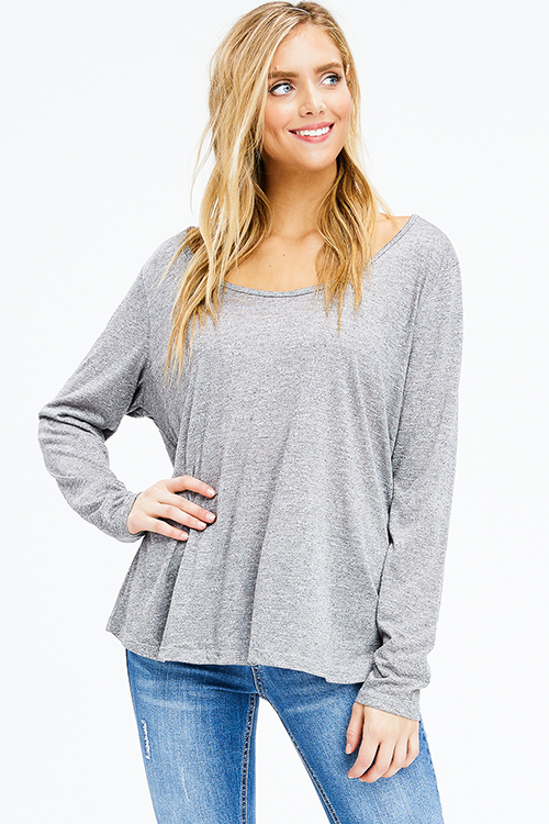 Cute cheap plus size heathered charcoal grey scoop neck long sleeve knit top