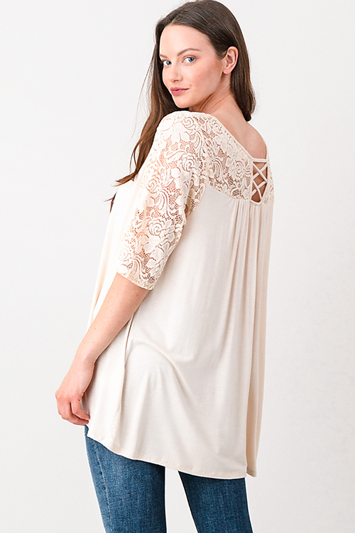 Cute cheap Plus size ivory beige sheer lace panel quarter sleeve cut out caged back boho top