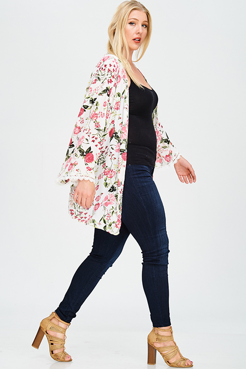 Cute cheap plus size ivory white floral print crochet lace trim long sleeve open front boho kimono cardigan top