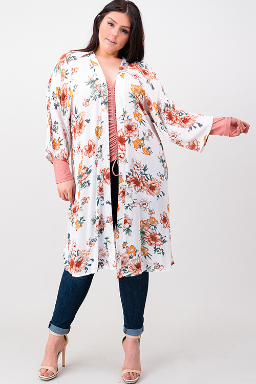 Cute cheap Plus size ivory white floral print long sleeve open front boho kimono cardigan top