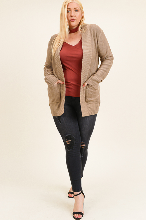 Cute cheap Plus size khaki brown ribbed sweater knit long sleeve open front pocketed boho cardigan