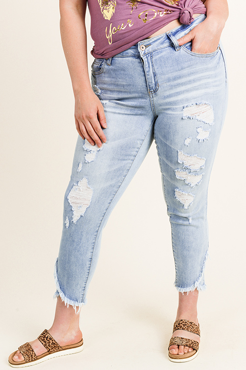 Cute cheap Plus size light blue washed denim mid rise distressed boho frayed ankle tulip hem skinny jeans