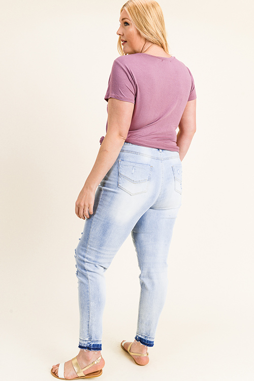 Cute cheap Plus size light blue washed denim mid rise distressed ripped raw hem skinny jeans