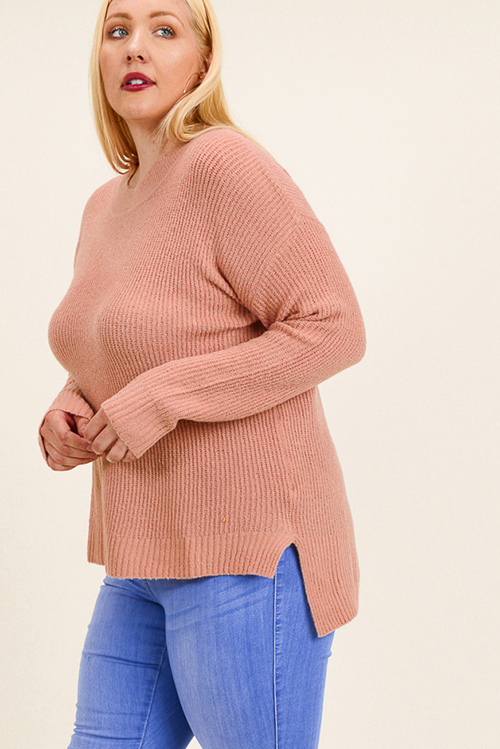 Cute cheap Plus size mauve pink long sleeve round neck boho sweater knit top