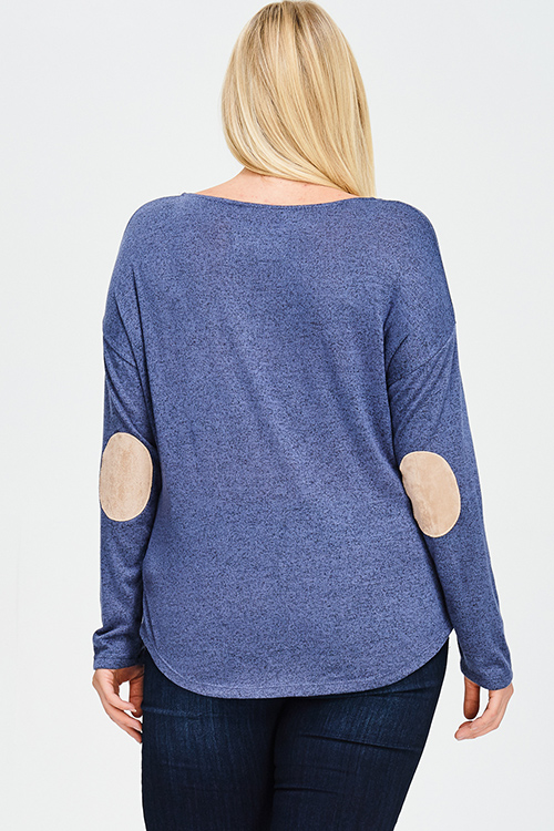 Cute cheap plus size navy blue button side detail faux suede elbow patch boho sweater knit top