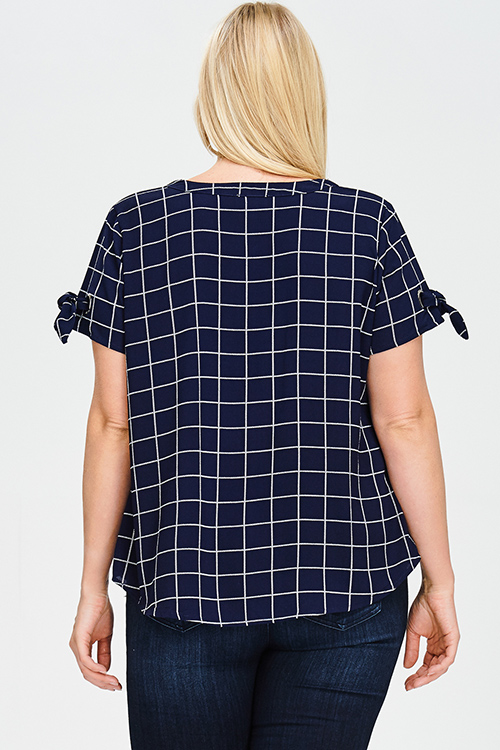 Cute cheap plus size navy blue checker grid print tie short sleeve boho blouse top
