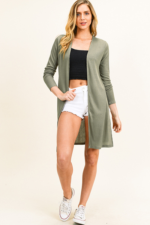 Cute cheap plus size olive green ribbed knit long sleeve slit sides open front boho duster cardigan