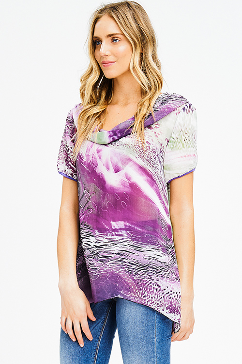 Cute cheap plus size purple semi sheer chiffon abstract print cowl neck short sleeve blouse top