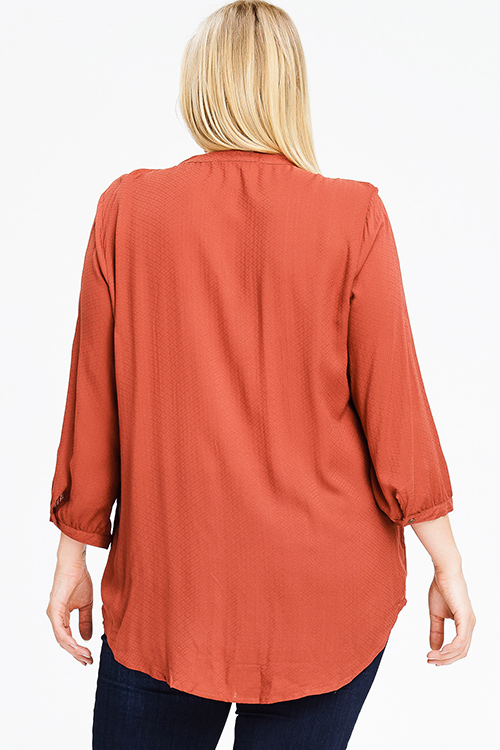 Cute cheap plus size rust orange tie front quarter length sleeve button up boho peasant blouse top