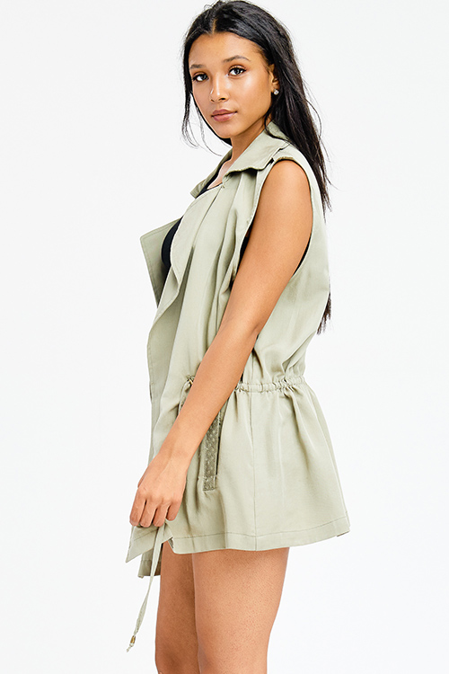 Cute cheap plus size sage olive green tie waist embroidered pocketed waterfall open front cargo trench vest