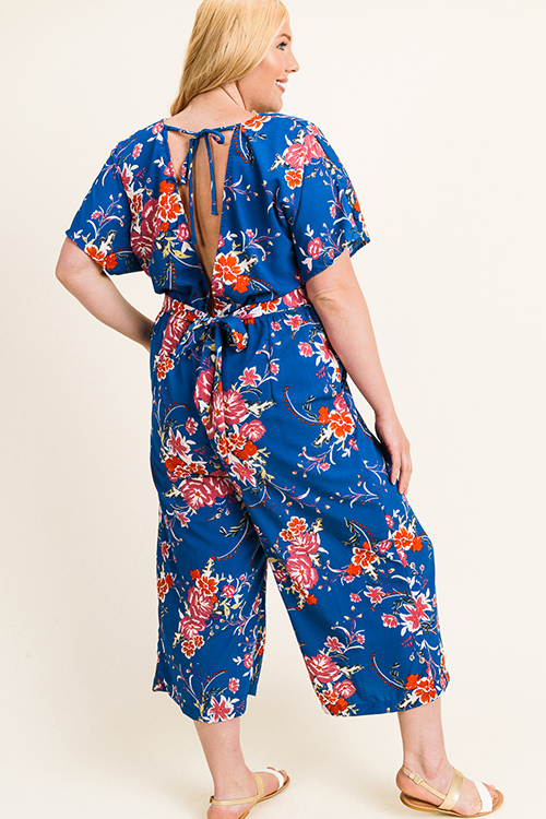 Cute cheap Plus size Teal blue floral print short sleeve v neck tie waist keyhole back wide leg evening jumpsuit