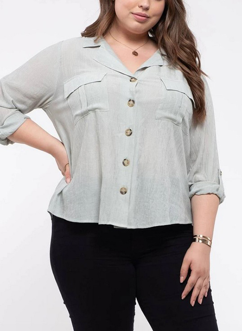 Cute cheap plus size woven button up shirt
