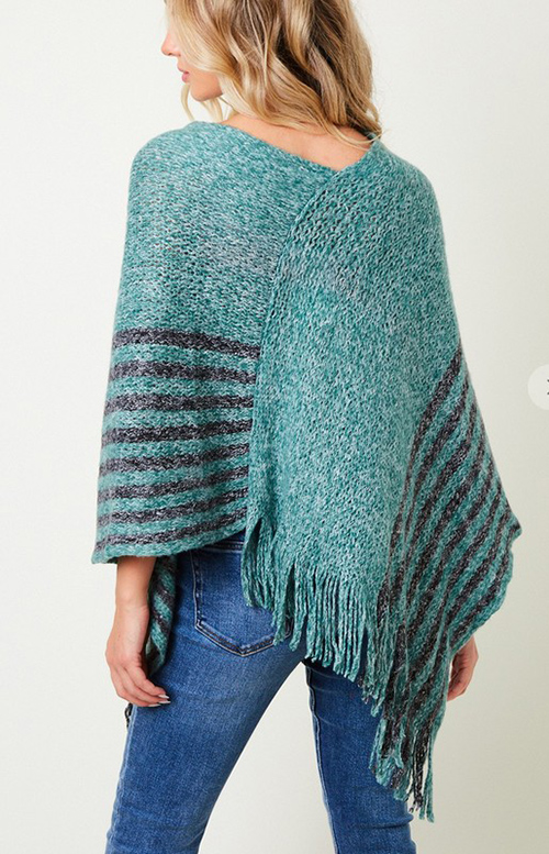 Cute cheap Poncho Sweater with  Stripe Bottom.