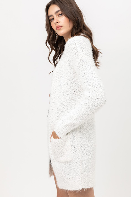 Cute cheap popcorn knit long sleeve open front pocketed boho fuzzy sweater cardigan