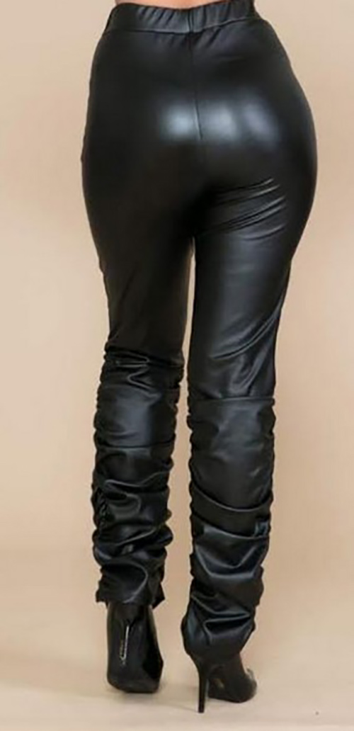 Cute cheap PU faux leather ruched seam leggings pants