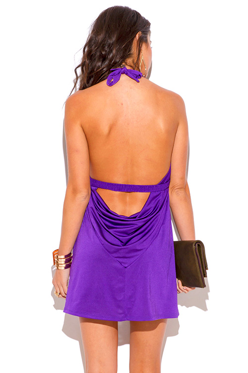 Cute cheap purple bejeweled draped backless babydoll halter party mini dress