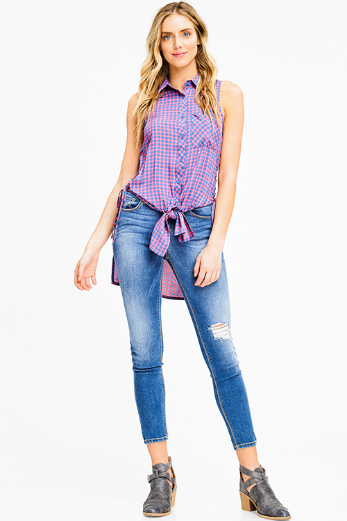 Cute cheap purple checker plaid print sleeveless laceup side tie front button up top