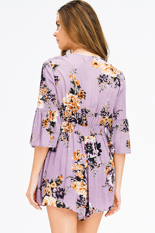 Cute cheap purple floral print long bell sleeve knot front boho romper playsuit jumpsuit