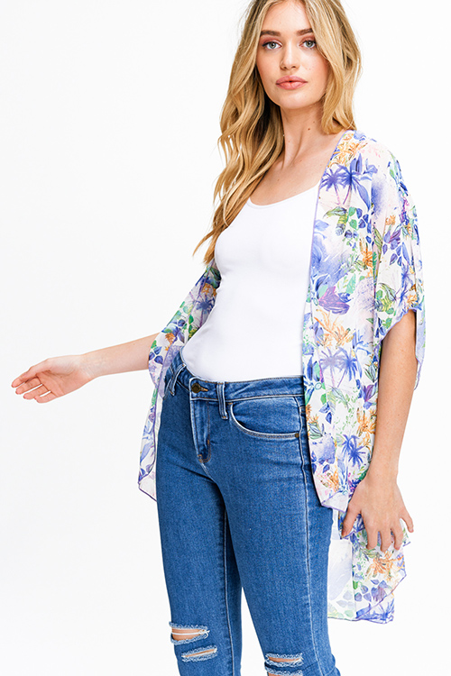 Cute cheap Purple multicolor floral print sheer chiffon short sleeve tie front boho kimono top