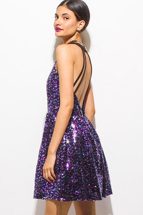 Cute cheap purple multicolor sequined halter a line caged backless cocktail party club mini dress