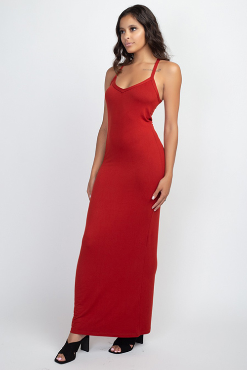 Cute cheap Rust Red Racer Back Maxi Dress