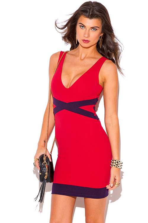 Cute cheap red and plum purple deep v neck bodycon fitted pencil club mini dress