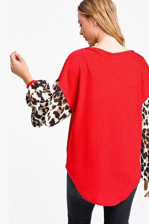 Cute cheap Red animal print long sleeve round neck boho fuzzy thermal top