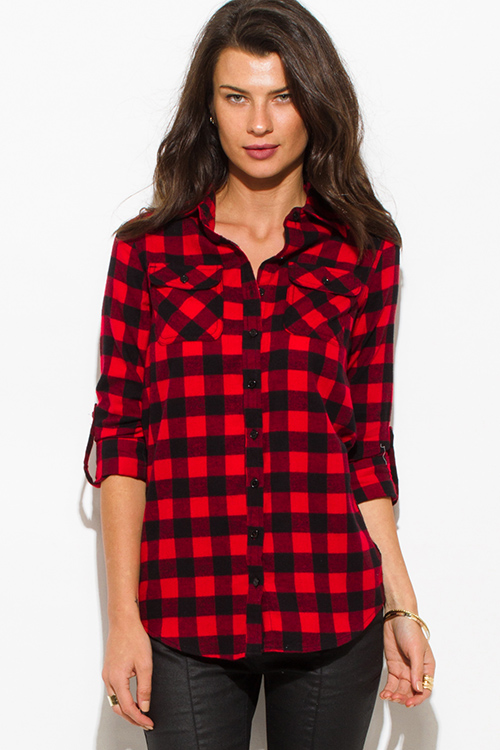 852b2f558d7b4 wholesale womens red black checker plaid flannel long sleeve button up  blouse top